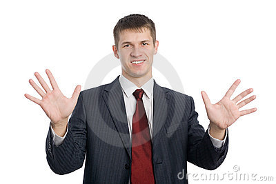 Businessman gesturing hands