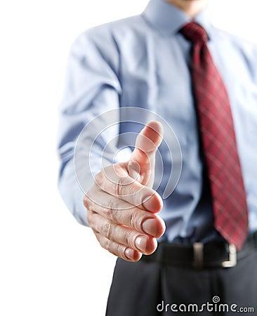 Businessman gesturing a handshake