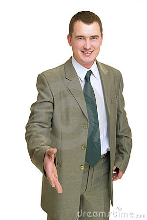 Businessman gesturing hello
