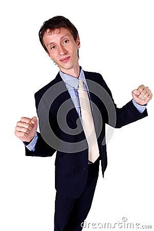 Businessman gesturing OK in studio