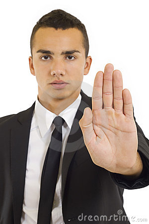 Businessman gesturing stop