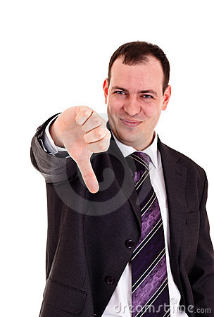 Businessman gesturing thumbs down