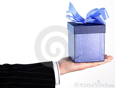 Businessman with gift