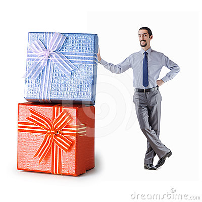 Businessman with gift boxes