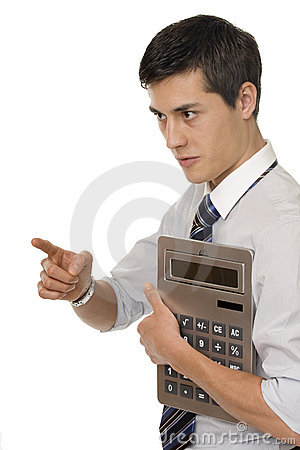 Businessman with gigantic pocket calculator