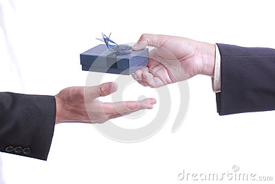 Businessman give gift for good relationship