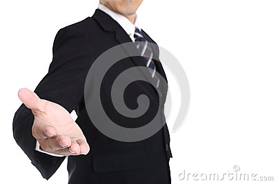 Businessman give some hand to receive something