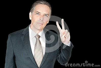 Businessman Gives Peace Sign