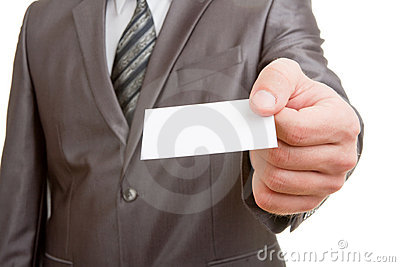 Businessman giving blank card