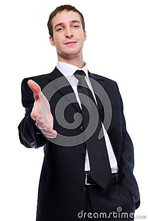 Businessman giving handshake