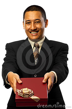 Businessman Giving Present