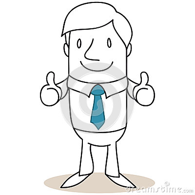 Businessman giving two thumbs up