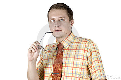 Businessman with glasses gesture