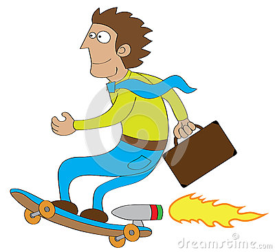Businessman go to office by using turbo skateboard