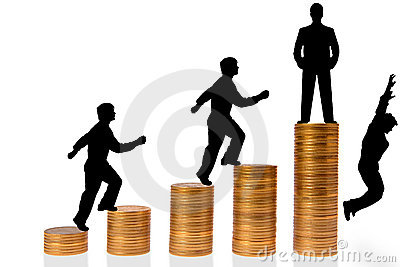 Businessman go up stairs from coins