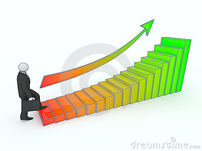 Businessman goes up the stairs of profit growth.