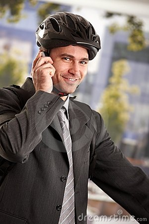 Free Businessman Going To Work By Bike Stock Photos - 13053053