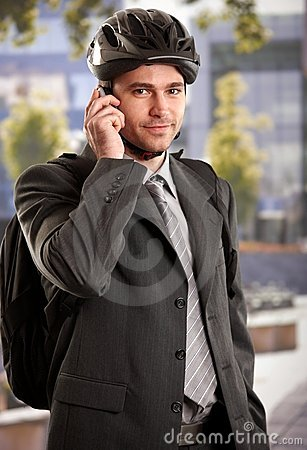 Free Businessman Going To Work By Bike Stock Photography - 13608902