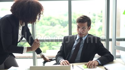 Businessman got scold by his female boss problems at work. 4k