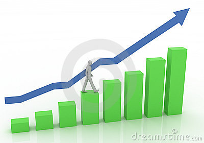 Businessman on graph