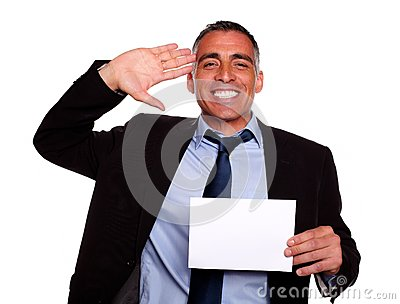 Businessman greeting and laughing