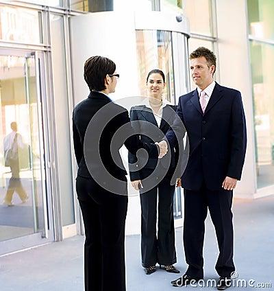 Businessman greeting partner