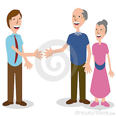 Businessman Greeting Senior Couple