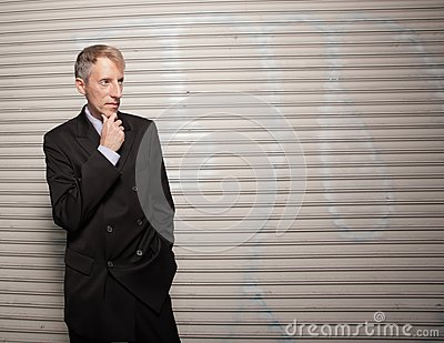 Businessman on a grungy background