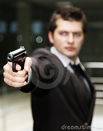 Businessman with gun
