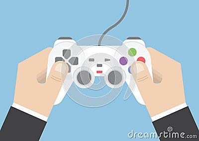 Businessman hand holding joystick or game controller Vector Illustration