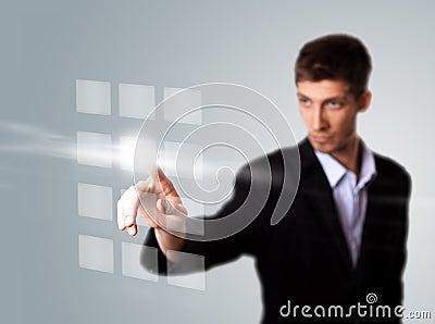 Businessman hand pressing digital button