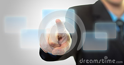 Businessman hand pushing the virtual button