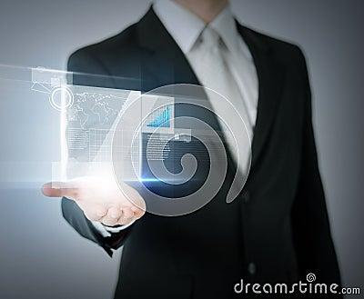 Businessman hand showing chart on virtual screen