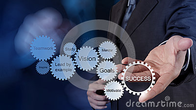 Businessman hand shows gear business success chart Stock Photo