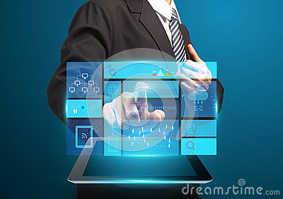 Businessman hand touch screen with technology business concept