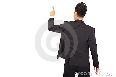 Businessman hand touch space