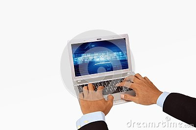 Businessman hand using laptop Isolated
