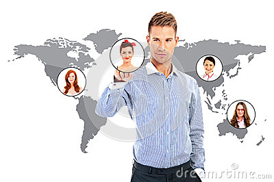 Businessman hand working over world map