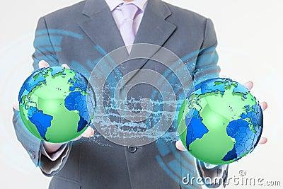 Businessman hand world