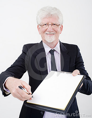 Businessman handing contract