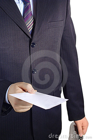 Free Businessman Handing Over A Blank Letter Royalty Free Stock Photos - 1982528