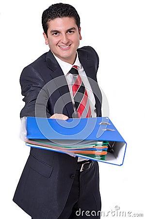 Businessman Handing Over a Binder
