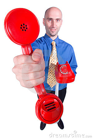 Businessman handing over phone