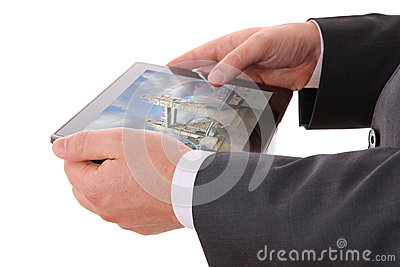 Businessman hands with tablet