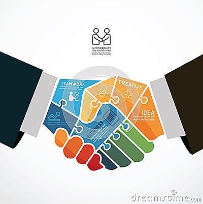 Free Businessman Handshake Jigsaw Banner . Stock Images - 39162594