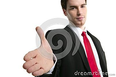 Businessman handshake open hand positive