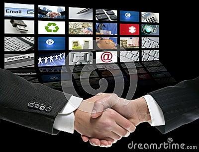 Businessman handshake over perspective screen