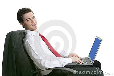 Businessman handsome sit chair working laptop