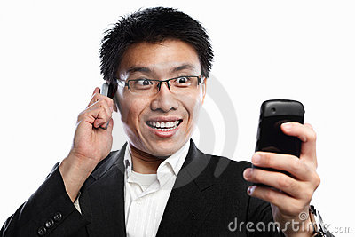 Businessman happy expression when using video call
