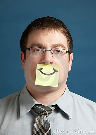 Businessman With Happy Note